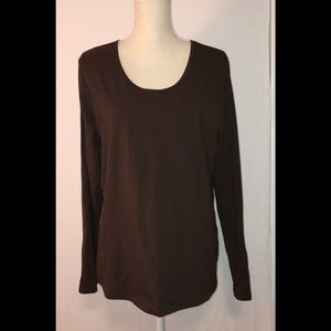 Talbots Long Sleeve Brown Tee Size XL